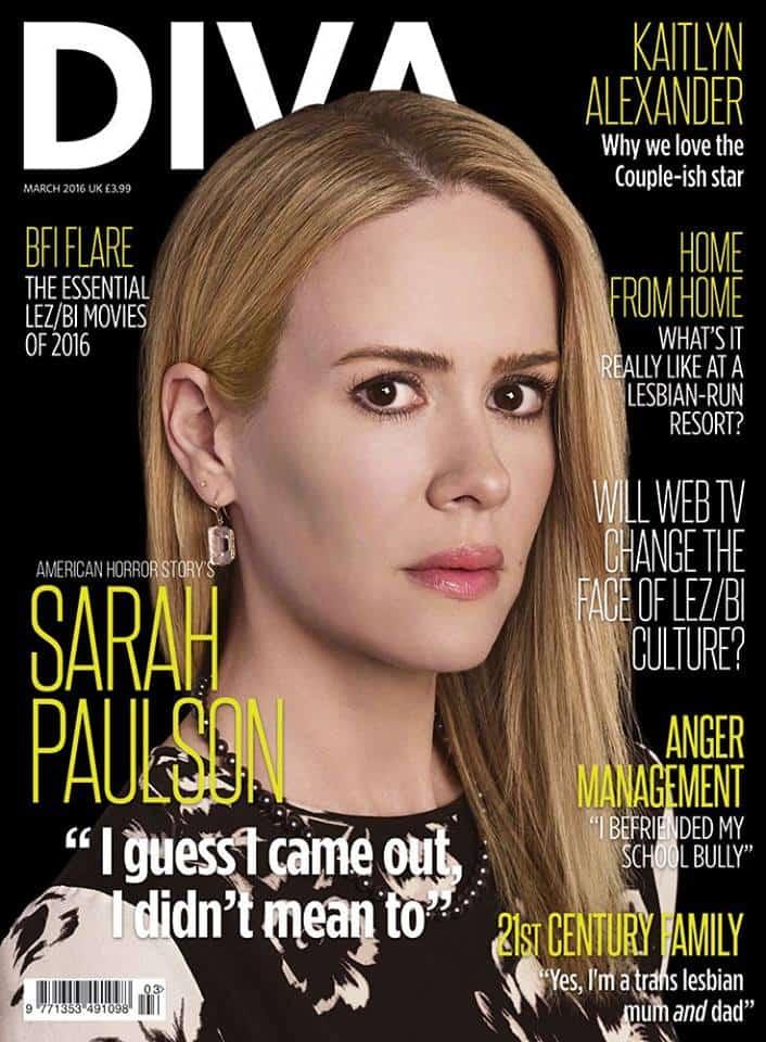 Sarah Paulson en la portada de marzo de 2016 de 'Diva'