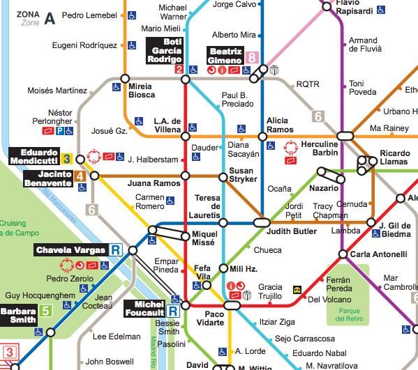 Mapa de Metro de Madrid de activistas LGBTQI  Hay una lesbiana en