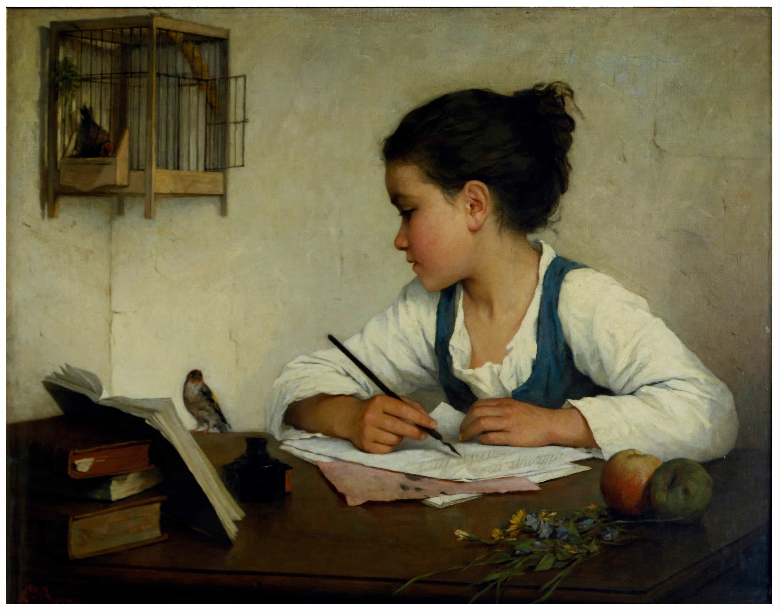 Browne Henriette   A Girl Writing The Pet Goldfinch   Google Art Project, Hay una lesbiana en mi sopa