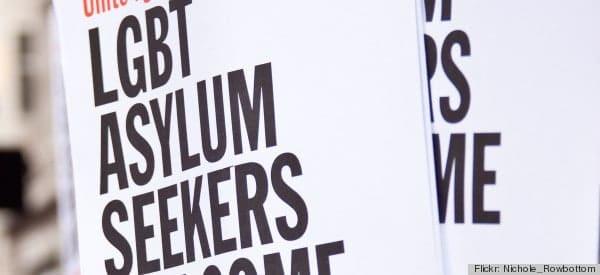 LGBT Asylum Seekers Welcome Here - Socialist Worker banner.